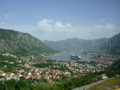 Picturesque Kotor town bay area, in Montenegro